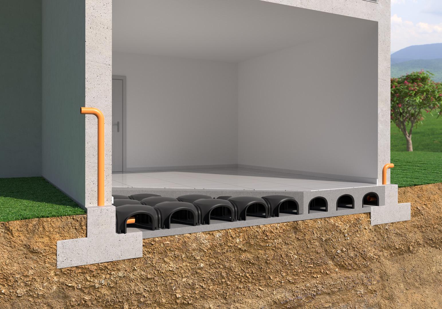 Render architettonico in spaccato di un solaio aerato con iglù