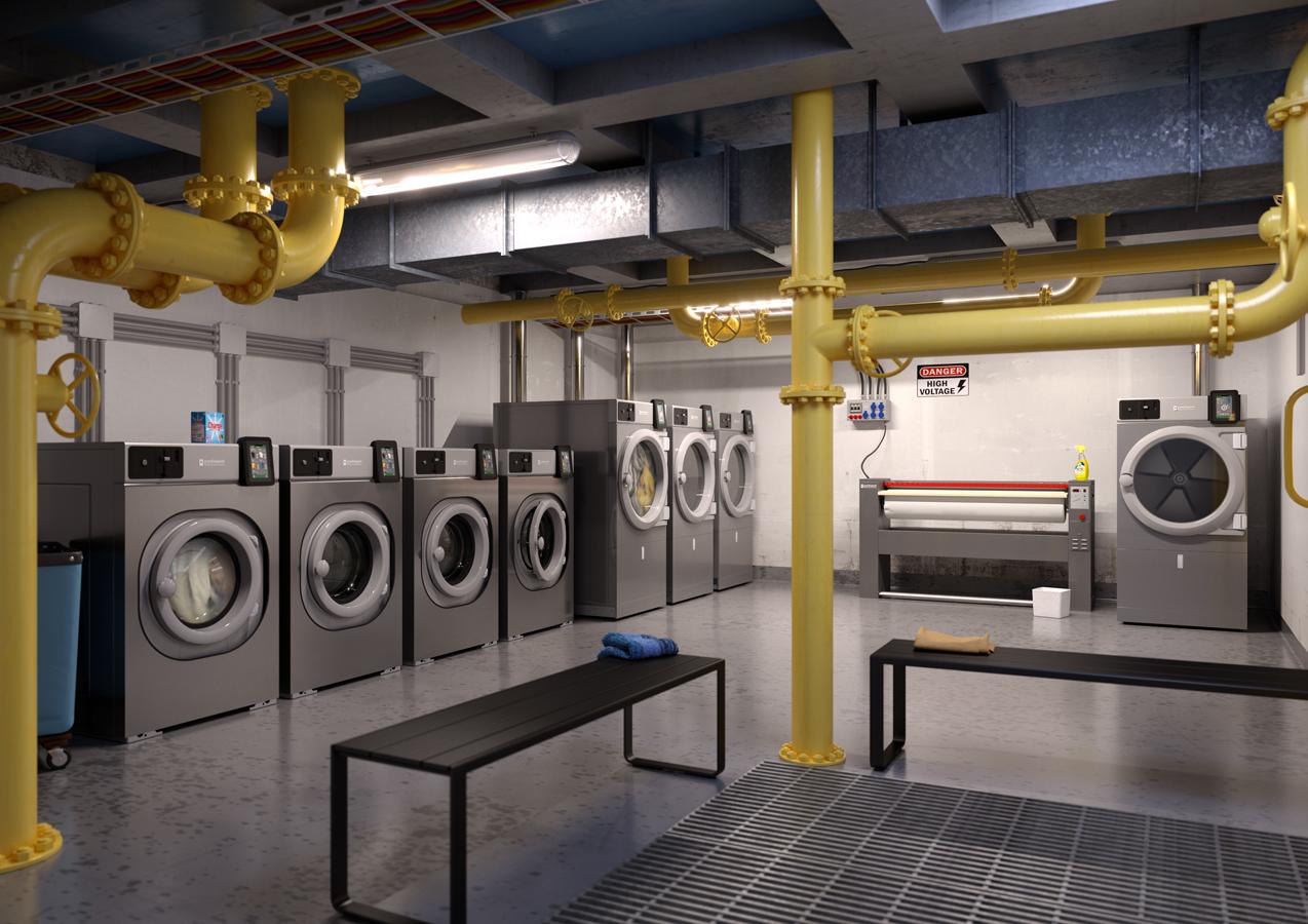 Ambientazione in un locale tecnico in render 3D di lavatrici, asciugatrice e stiratrice industriale