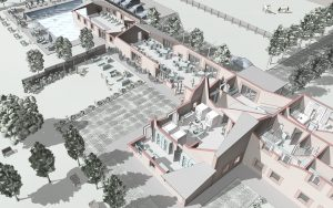 Rendering architettonico (spaccato architettonico) in stile cartoon disegno di un resort (Grandimpianti I.L.E., Ali S.p.a., Sospirolo, Belluno)