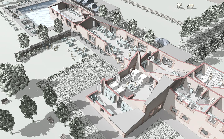 Rendering 3D architettonico in spaccato in stile disegno cartoon