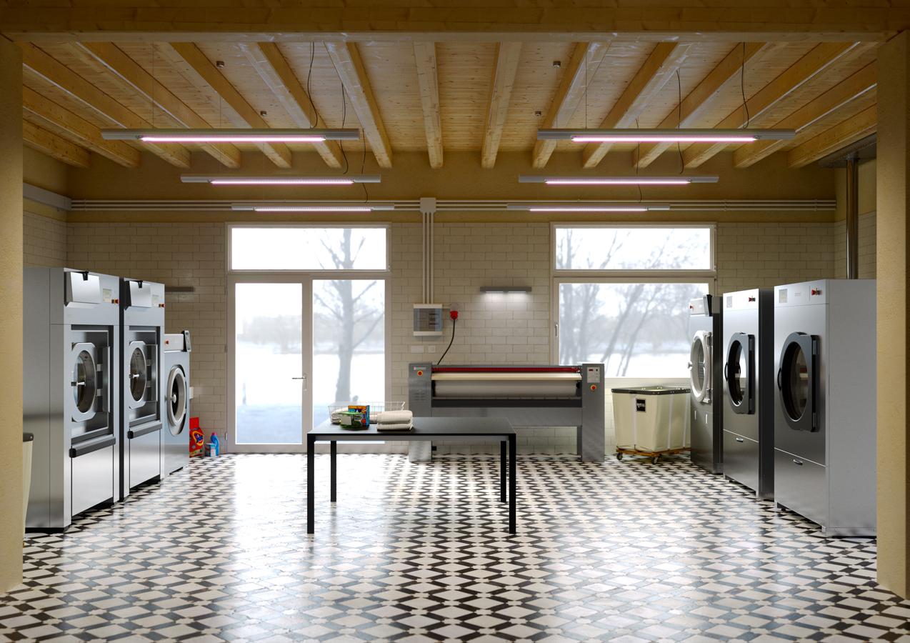 Render 3D di una lavanderia per un resort