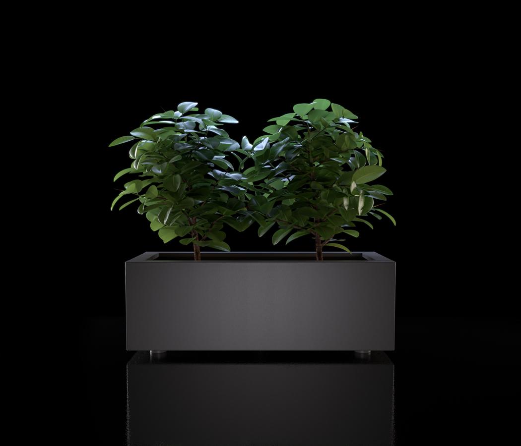 Still fotografico su fondo nero di una fioriera in render for Catalogo arredo giardino