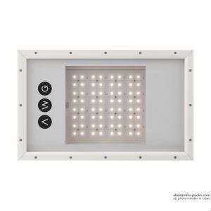 Render 3D vista da sotto di una lampada industriale led in alluminio bianca marchio AWG